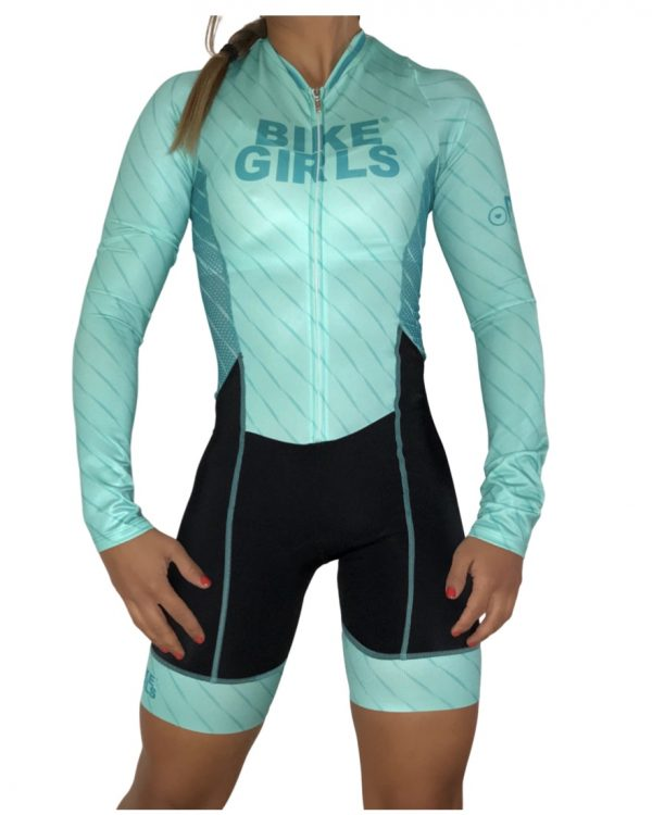 Enterizo ciclismo Manga larga Menta Bike Girls
